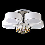 40W 10-Light Elegant Crystal Flush Mount Light with Glass Shade