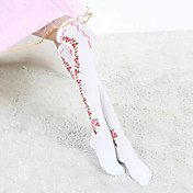 Fiore Rosso Bianco Cotone Paese Lolita Calze