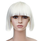 Capless Short White Straight High Quality Synthetic Japanese Kanekalon Wigs