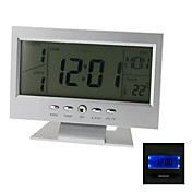 Voice Activated 5.5&quot; Digital Alarm Clock Calendar Thermometer (Silver, 2xAAA)
