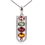 Stylish 925 Silver With Tourmaline Plating 18K Gold Women's Necklace