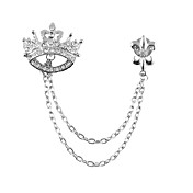 Men's Vintage Rhinestone Crown Broche