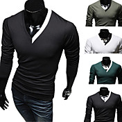 Men's Cheap Organic Cotton Long Sleeve V Collar Shirt(Assorted Colors And Sizes)