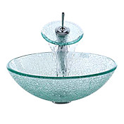 Transparent Cracked Style Tempered Glass Vessel Sink with Waterfall Faucet, Mounting Ring and Water Drain