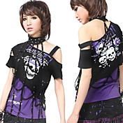 Sexy Cool Short Sleeve Strapless Cotton Punk Lolita T-shirt with Collar(2 Colors)