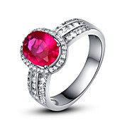 Charming 925 Sterling Silver Platinum Plated Birthstone Ring(More Colors)