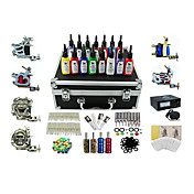 6 Guns Pro Complete Tattoo Kit Machine Power Supply 15 Ink