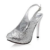 Sparkling Glitter Stiletto Peep Toe Slingbacks With Buckle (More Colors)