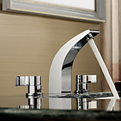 Sprinkle® by Lightinthebox - Chrome Finish Two Handles Widespread Solid Brass Bathroom Sink Faucet
