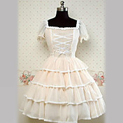 Short Sleeve Knee-length Beige Cotton Princess Lolita Dress