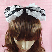 Handmade Black Cotton White Lace 22cm Bow Country Lolita Headband