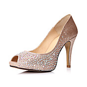 Espumante Glitter Stiletto Heel Peep Toe bombas com sapatos de casamento strass (mais cores)