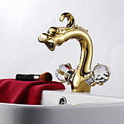 Two Handle Centerset Rose Gold Finish Dragon Head Style Bathroom Sink Faucet