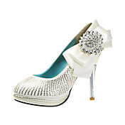 Handmade Leatherette Upper Stiletto Heel Closed Toe With Rhinestone Wedding/ Party Shoes