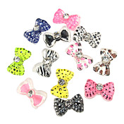 24PCS 3D Half Cover Resin Nail Decorations Diamond Cartoon Bow Tie