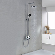 "Digital LCD Screen Chrome Finish Thermostatic Contemporary Style Shower Faucets with 8"" Showhead + Handheld"