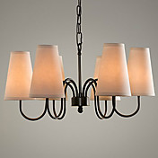 60W Modern Chandelier with Black Metal Bracket and Fabric Shade