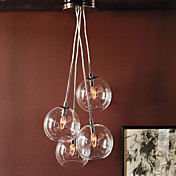 60W Ciondolo artistico moderno con 4 luci in Design Glass Bubble