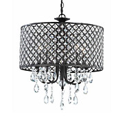 60W Contemporary Pendant Light with 4 Lights and Black Metal-Net Drum Shade