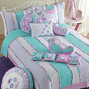 4PCS Lovely Stripe Quilted Cotton Full Duvet Cover Set