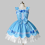 Ermelse Kort Sky Blue and White Cotton Country Lolita Dress