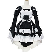 Long Sleeve Short Black and White Cotton Shiro& Kuro Lolita Dress