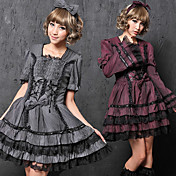Long / Short Mouw Korte Stripe Cotton Casual Lolita Dress