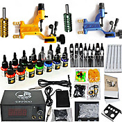 2 libel roterende tattoo pistool kit met 14 * 15 ml kleureninkt