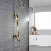 Contemporary Ti-PVD Finish Wall Mount Brass Shower Faucets