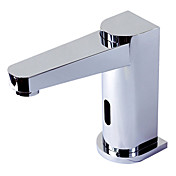 Chrome Finish Deck Mounted Contemporary Style Brass Sensor Bathroom Sink Faucets