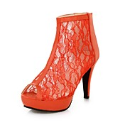 Leatherette Stiletto Heel Peep Toe / Sandals With Lace Party / Evening Shoes (More Colors)