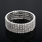 Five Layers Ladies' Rhinestone Tennis Bracelet In Silver Alloy