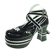 Handmade Shiro&amp; Kuro PU Leather 9.5cm High Heel Doll's Lolita Shoes