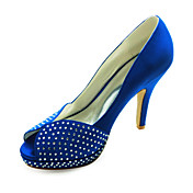 Lovely Satin Stiletto Heel Peep Toe With Rhinestone Wedding Shoes (More Colors)