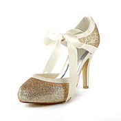 Satin Stiletto Heel Pumps With Sparkling Glitter Wedding Shoes (More Colors)