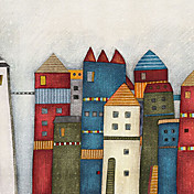 Colorful Architecture Castles Cartoon Mural