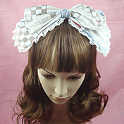 Coffee and White Grids Cotton Bow School Lolita Headband