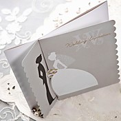 Silver Scalloped Edge Bride & Groom Wedding Invitation (Set of 50)