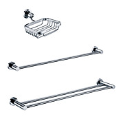 Brass Chrome Finish Bathroom Accessory Sets (Include Soap Holders,2 Towel Bars)
