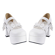 Handmade White PU Leather 6.5cm High Heel Doll's Lolita Shoes