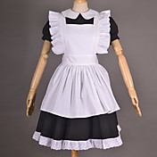 Short Sleeve Knee-length Cotton Maid Cosplay Lolita Dress with Lace