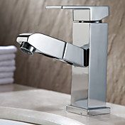 Contemporary Pull-out Chrome Finish Brass Kitchen Faucet