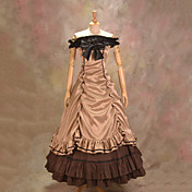 Sleeveless Floor-length Coffee Satin Cotton Aristocrat Lolita Dress