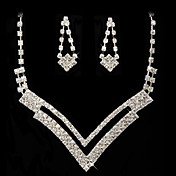 Rhinestone Dignified Necklace And Earring Set
