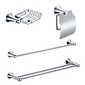 Chrome Finish Brass Bathroom Accessory Sets (Include Soap Holders,Toilet Roll Holders,2 Towel Bars)