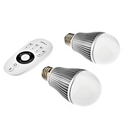 Dimmable E27 7W Warm White & Natural White Light Remote Controlled LED Bulb (85-265V, 1-Pair)