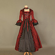 Langrmet Gulv-lngde Red Satin Cotton Classic Lolita Dress
