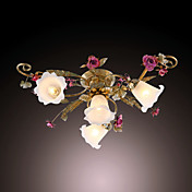 160W Nature Inspired Flush Mount With 3 Lights and Floral Petal Shades in Metal Branch E14/E12