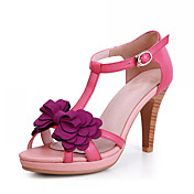 Beautiful Leather Chunky Heel Flowers Sandals Party / Evening Shoes(More Colors)