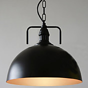 60W Modern Pendant Light with Black Hemisphere Shade and Factory Style Chain